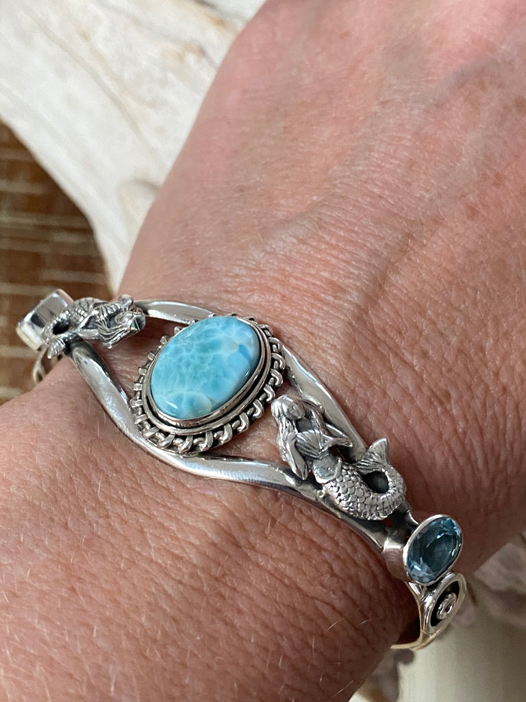 Ocean Blue Mermaid Cuff - sterling silver bangle/bracelet set with Larimar and blue topaz - adjustable