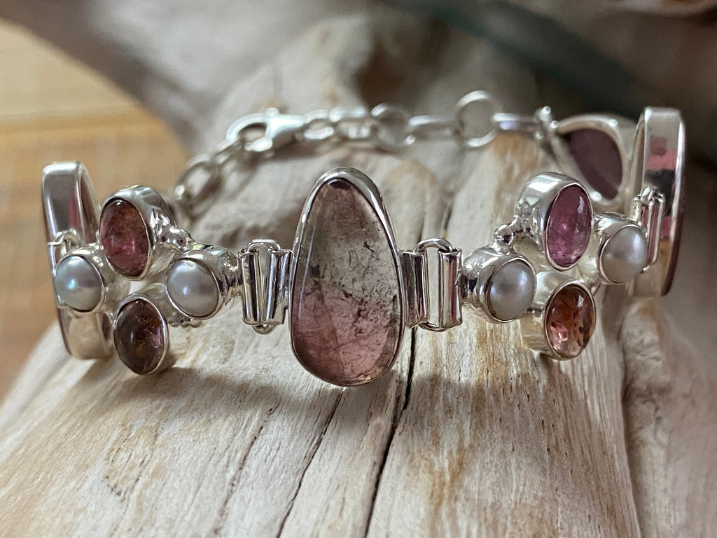 Pink Champagne - Blush pink tourmaline, watermelon tourmaline and pearl sterling silver bracelet