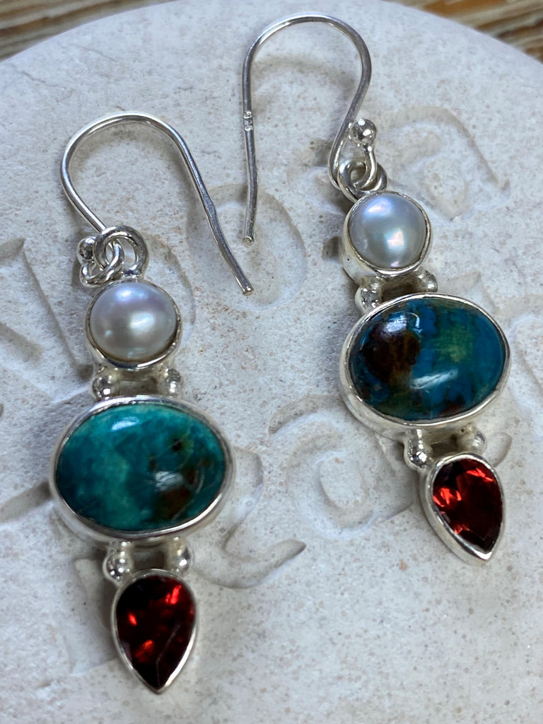 The Chrysalis - Natural green Chrysocolla, freshwater pearl & garnet sterling silver drop earrings