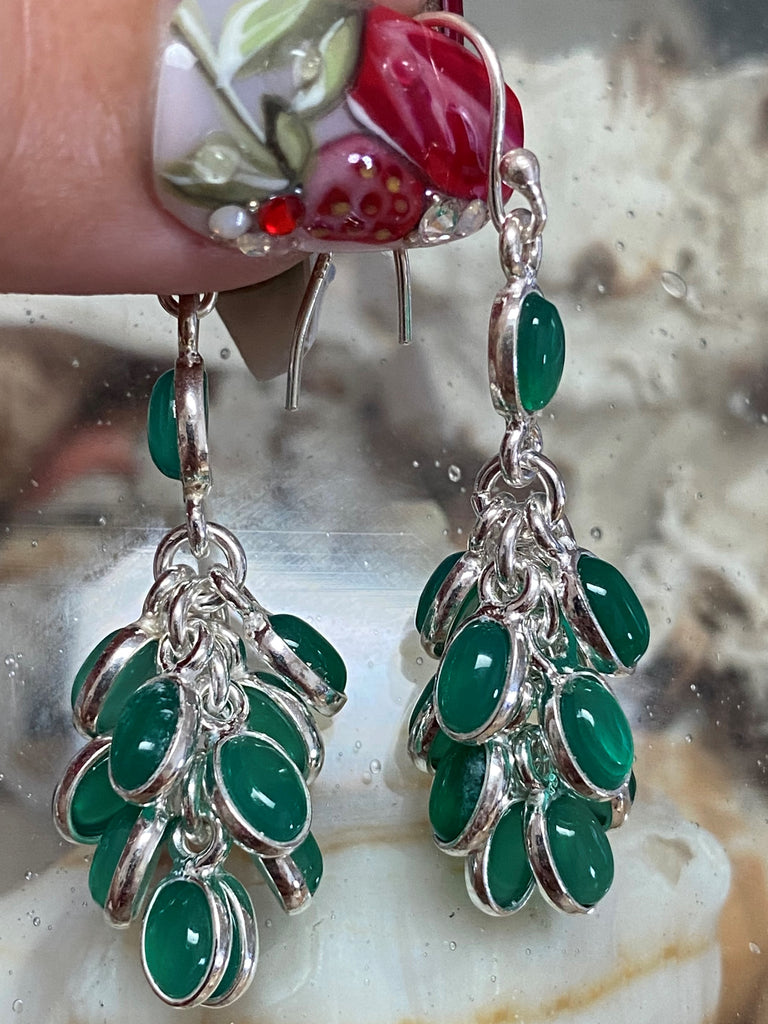 Vert - Chandelier cabochon cluster natural green chalcedony gemstone drop earrings
