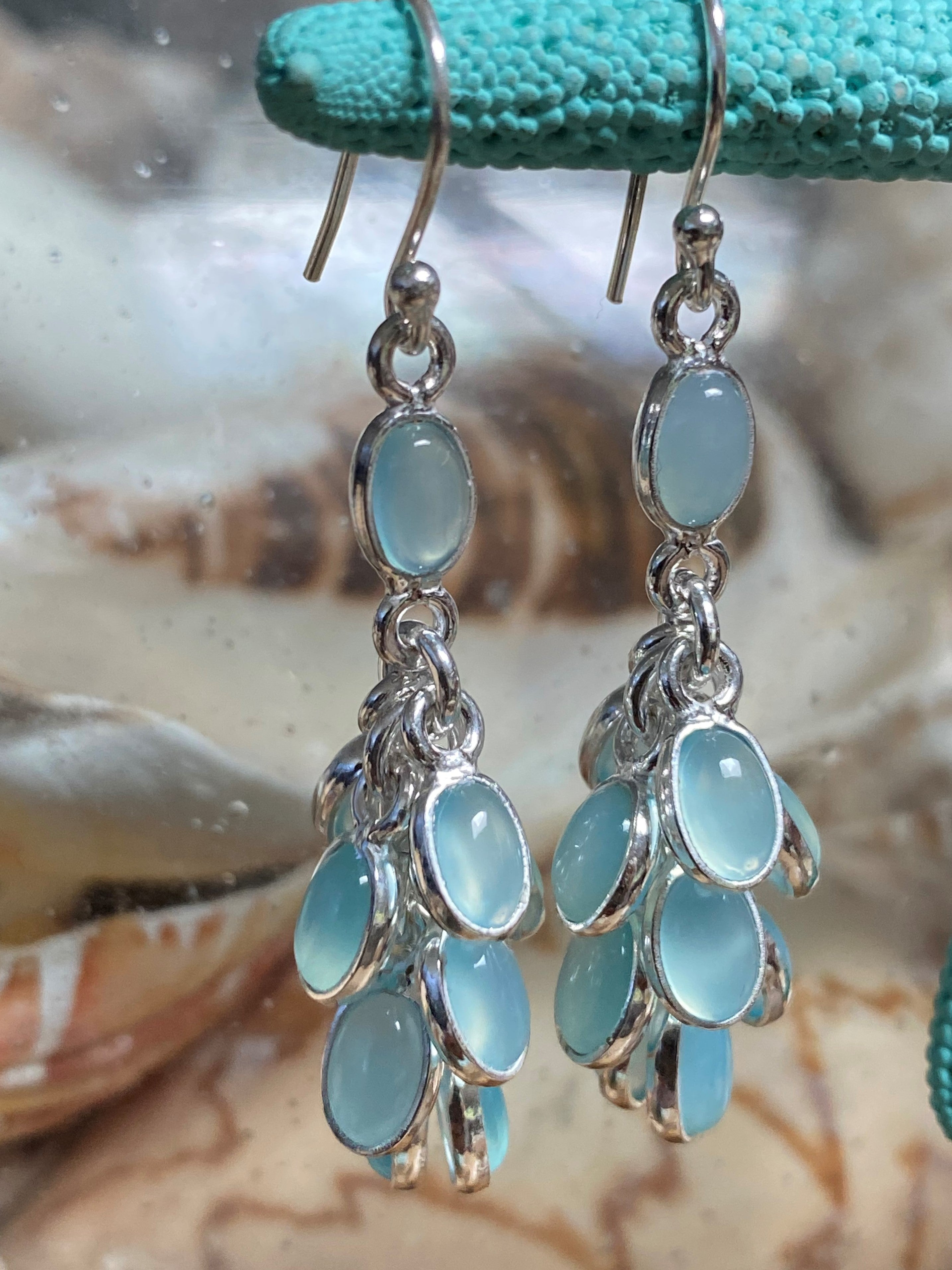 Icy Mint - Chandelier cabochon cluster natural chalcedony gemstone drop earrings