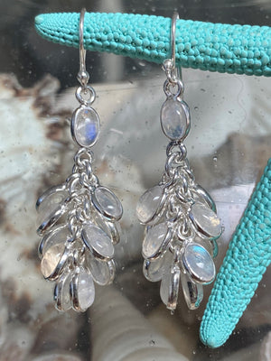 Aglow - Luminous rainbow moonstone cabochon cluster chandelier sterling silver earrings