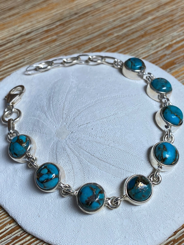Navajo Style - Blue Copper turquoise round cabachon gemstone sterling silver tennis bracelet 5.5 -6.5""