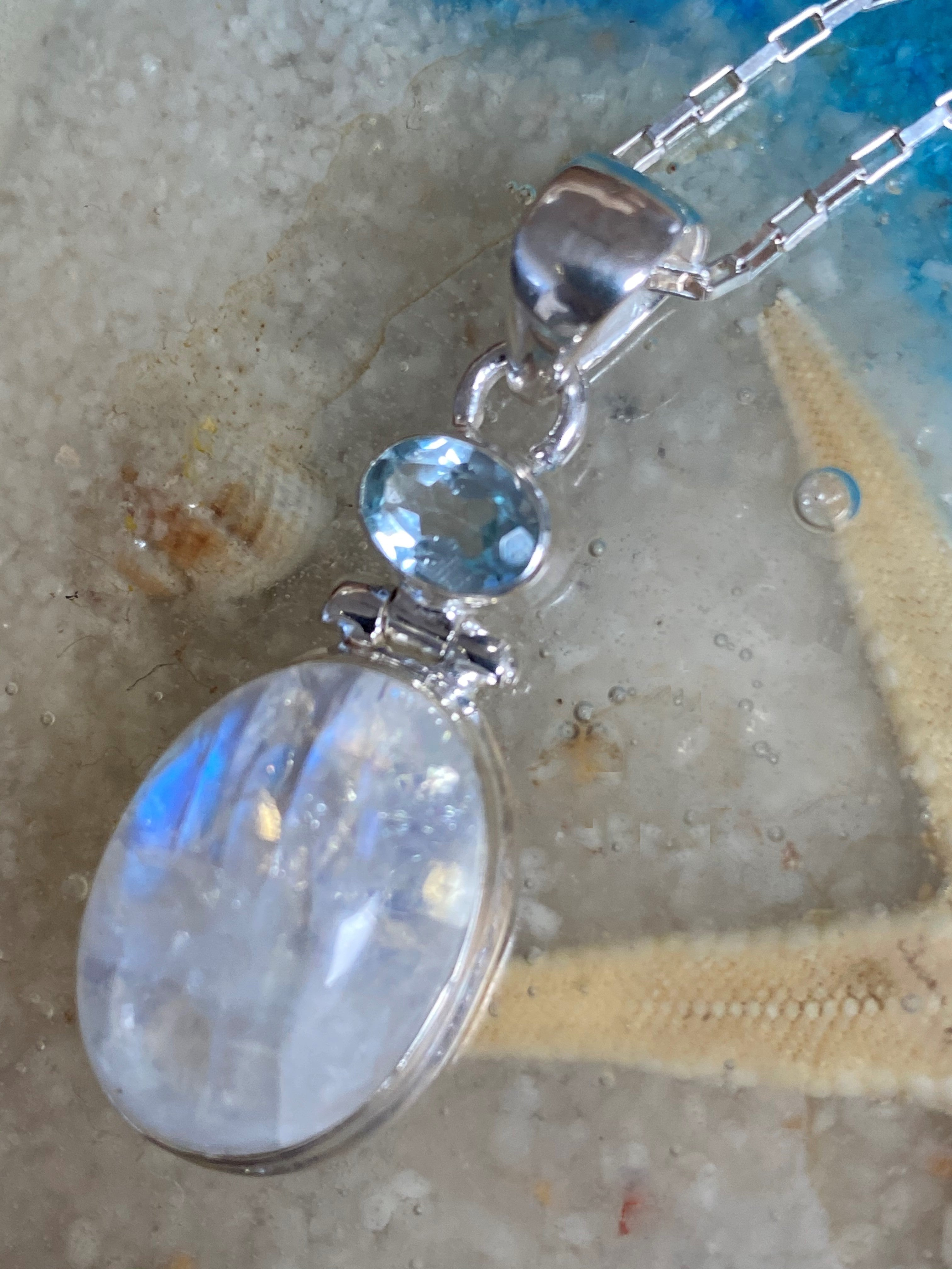 Blue Moon - Oval rainbow moonstone blue topaz sterling silver pendant necklace