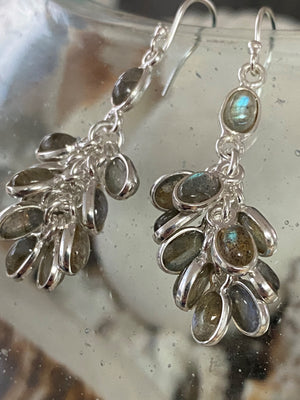 Transform - Chandelier cabochon cluster natural Labradorite gemstone sterling silver drop earrings