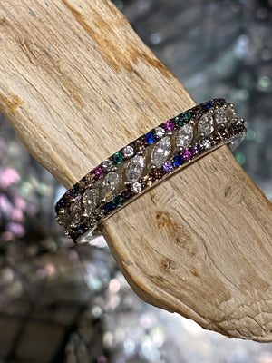 Rainbow Connection - Multi coloured lab gemstones amethyst, emerald, quartz and cubic zirconia sterling silver band ring - Size 7
