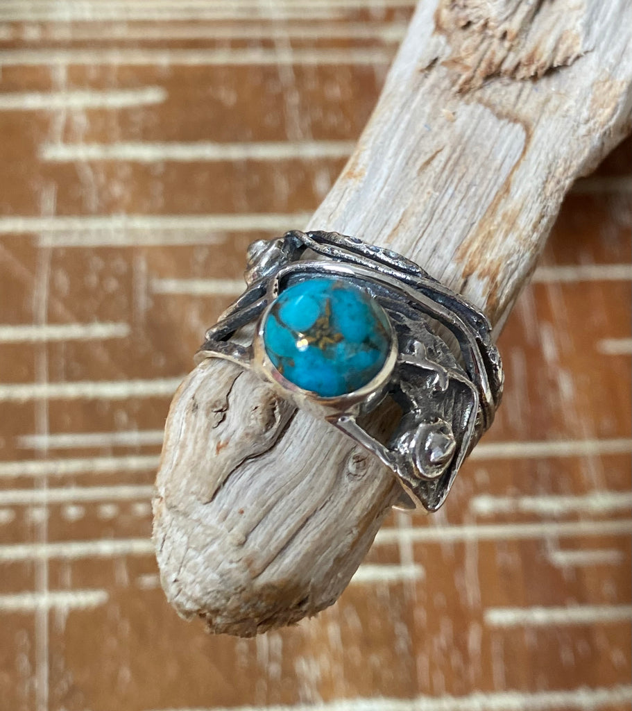 Fifth Element - Navajo Copper Turquoise hammered oxidized sterling silver wide band tangled vine ring - Size 6