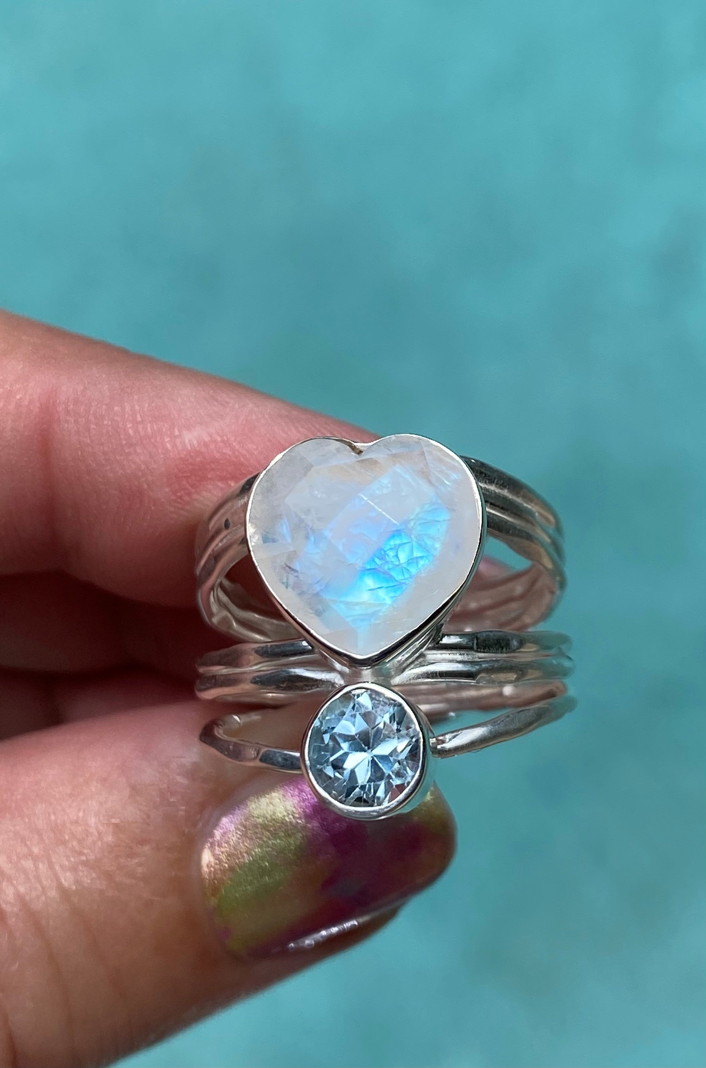 Exclusive to LFN - Signature Collection facet cut heart rainbow moonstone, blue topaz hammered sterling silver ring