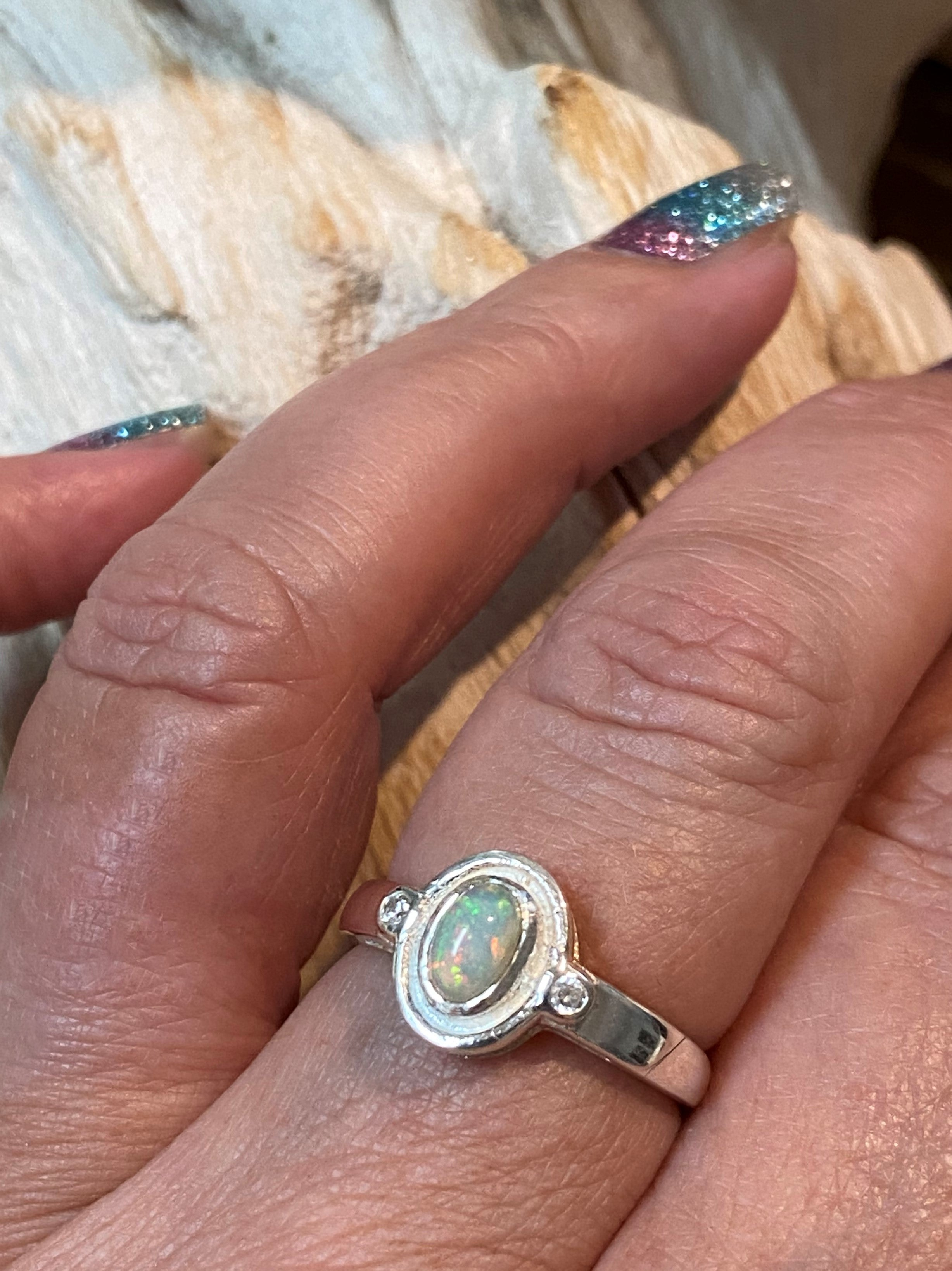 Intuition - Genuine Ethiopian opal and white topaz gemstone sterling silver ring - Size 8