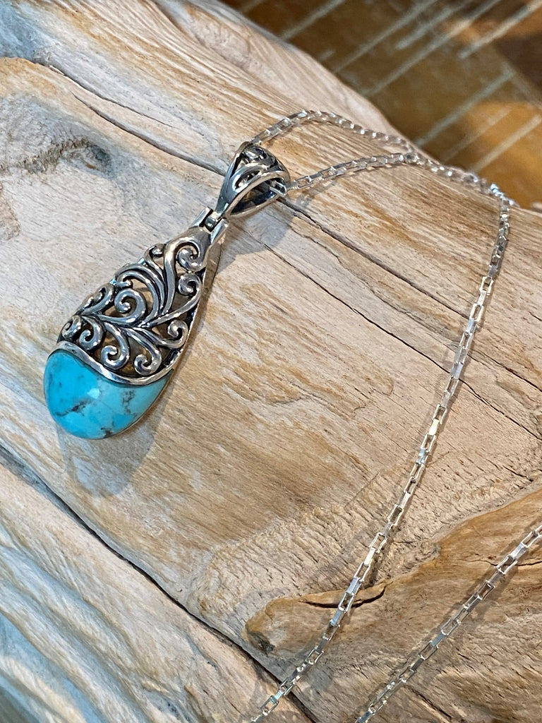 Sea Breeze 2 - Natural Kingman turquoise gemstone, oxidized sterling silver filigree teardrop necklace/pendant