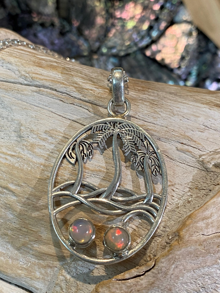 La Palmier - natural Ethiopian opal handmade 925 sterling silver palm tree pendant necklace