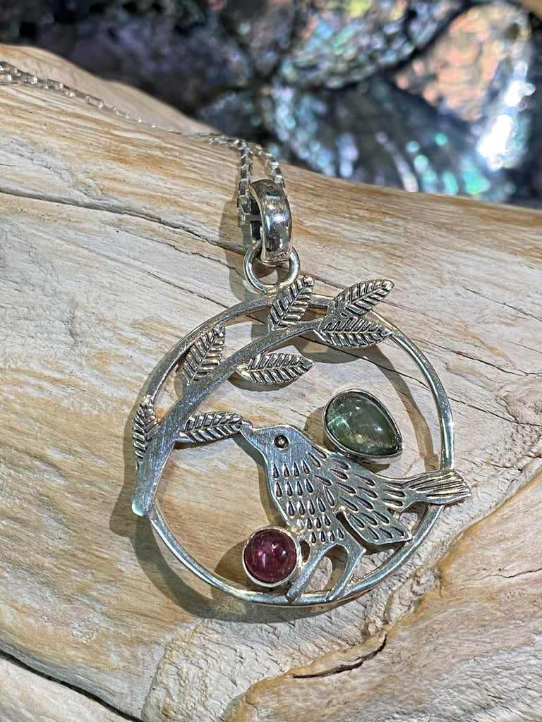 La Volialle - Pink and green tourmaline sterling silver bird & branch pendant necklace