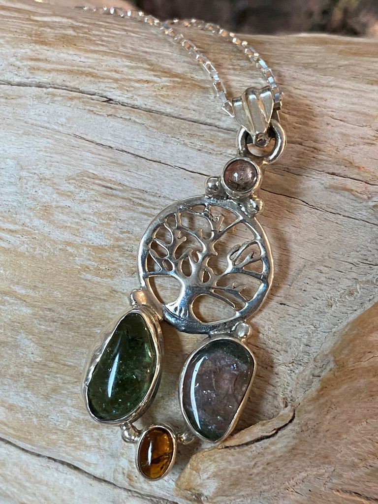 Connection - Tree of life sterling silver, multi colour, green, amber, purple tourmaline necklace