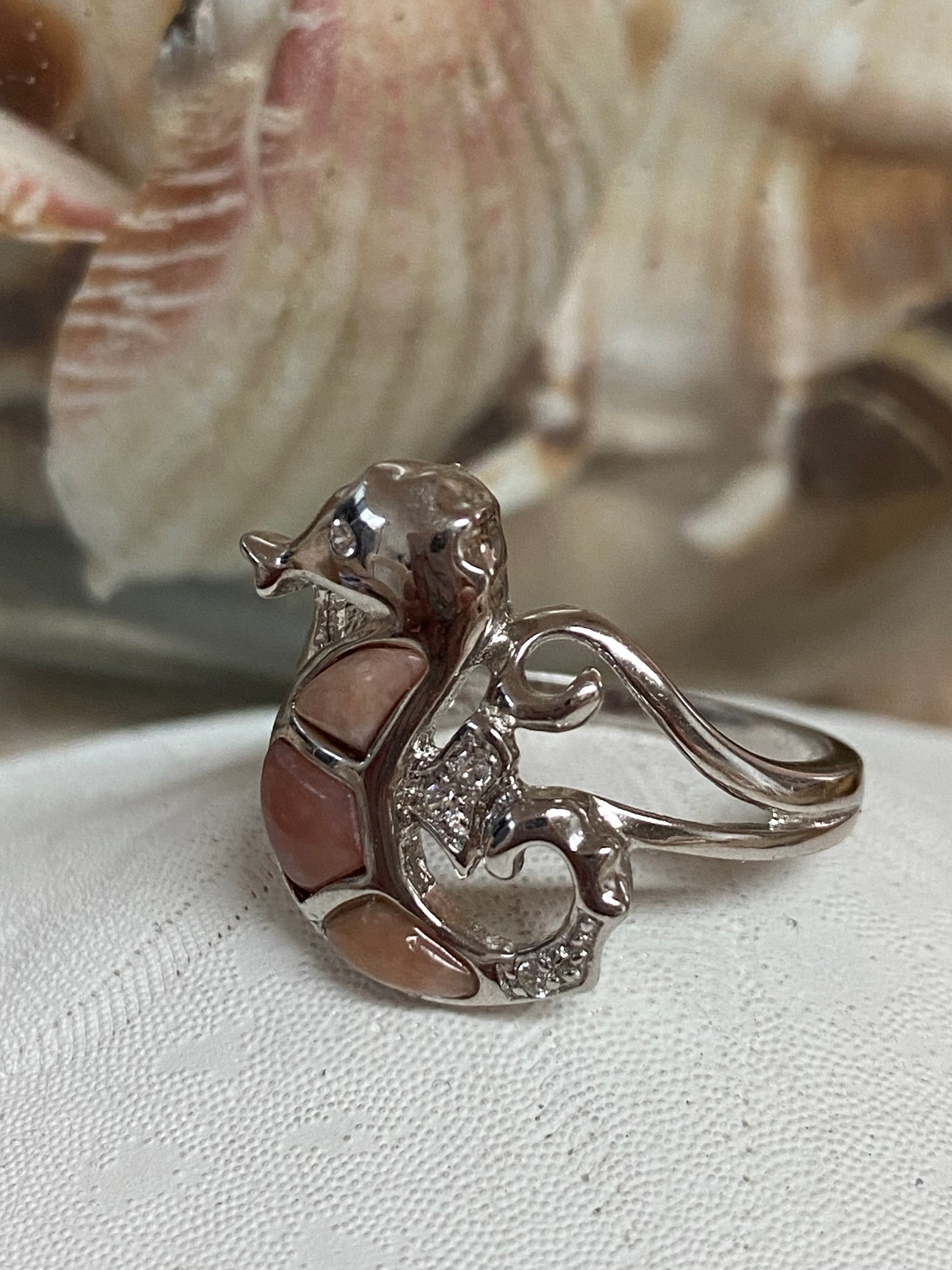 Serenity - Pale pink opal and white topaz seahorse sterling silver ring - Size 7