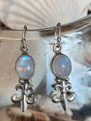 Aura Fleur Earrings - Rainbow Moonstone sterling silver Fleur De Lis drop earrings