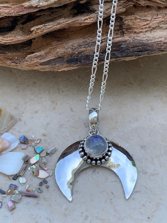 Heavenly Rainbow Moonstone Crescent Moon - polished sterling silver rainbow moonstone pendant/necklace