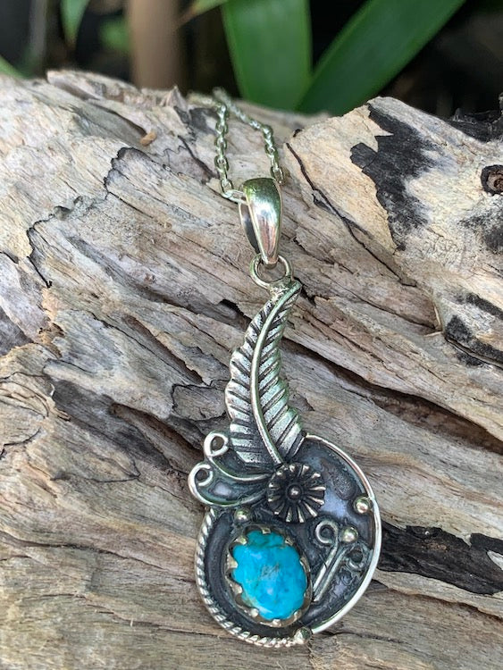 Navajo flower blossom copper turquoise oxidized sterling silver feather pendant/necklace