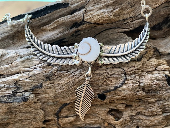 Navajo Dreaming - oxidized sterling silver wing feather shiva shell pendant/necklace
