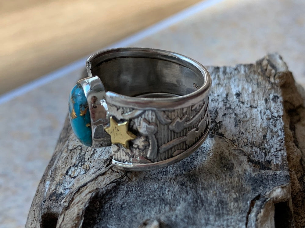 Celestial Dream - two tone wide band sterling silver copper turquoise brass star ring Size 7