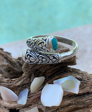 Double The Love Bali style - Oxidized 925 sterling silver floral filigree turquoise gemstone wrap ring