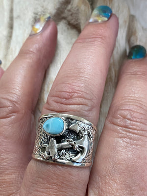Keep Me Anchored! Detailed wide band oxidized sterling silver & larimar anchor ring - Size 8
