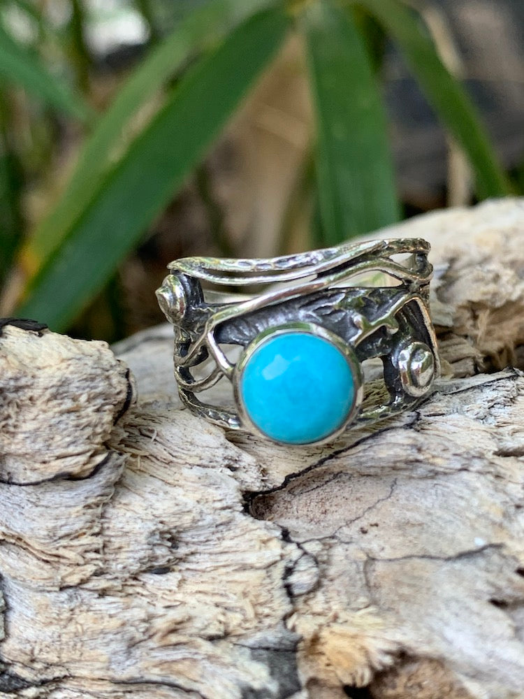 Hammered oxidized sterling silver 925 mohave turquoise tangled vine wide band ring Size 8
