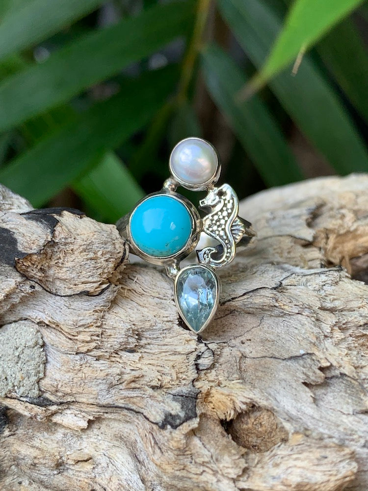 Under The Sea - Natural kingman turquoise, blue topaz, cultured pearl ring Size 8