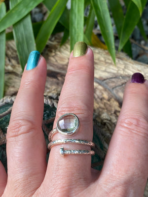 One of A Kind - hammered sterling silver double wrap briolette facet cut green amethyst ring -size 9