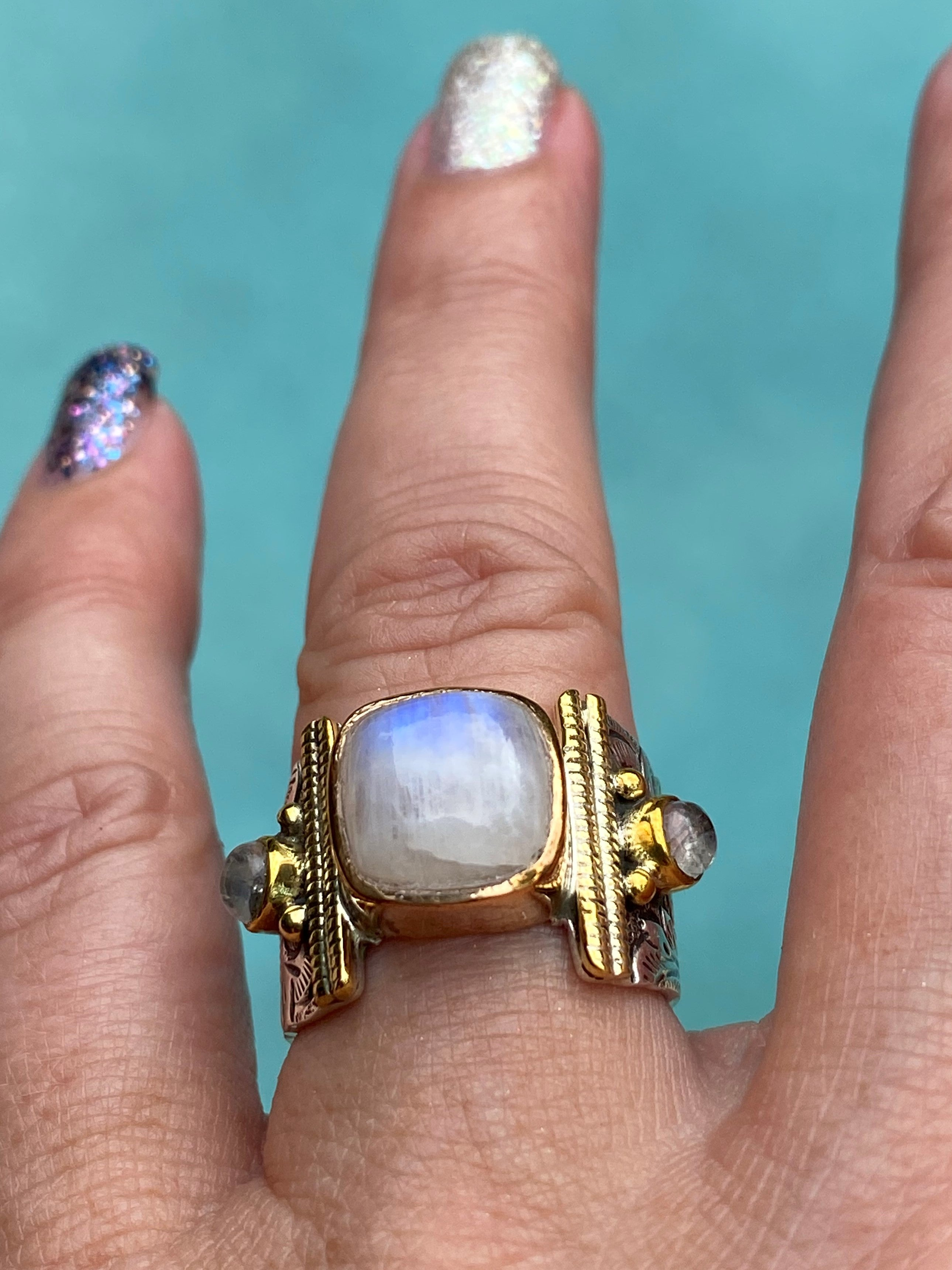 Regal Rainbow Moonstone - sterling silver 925 18k gold vermeil and brass etched wide band ring 9