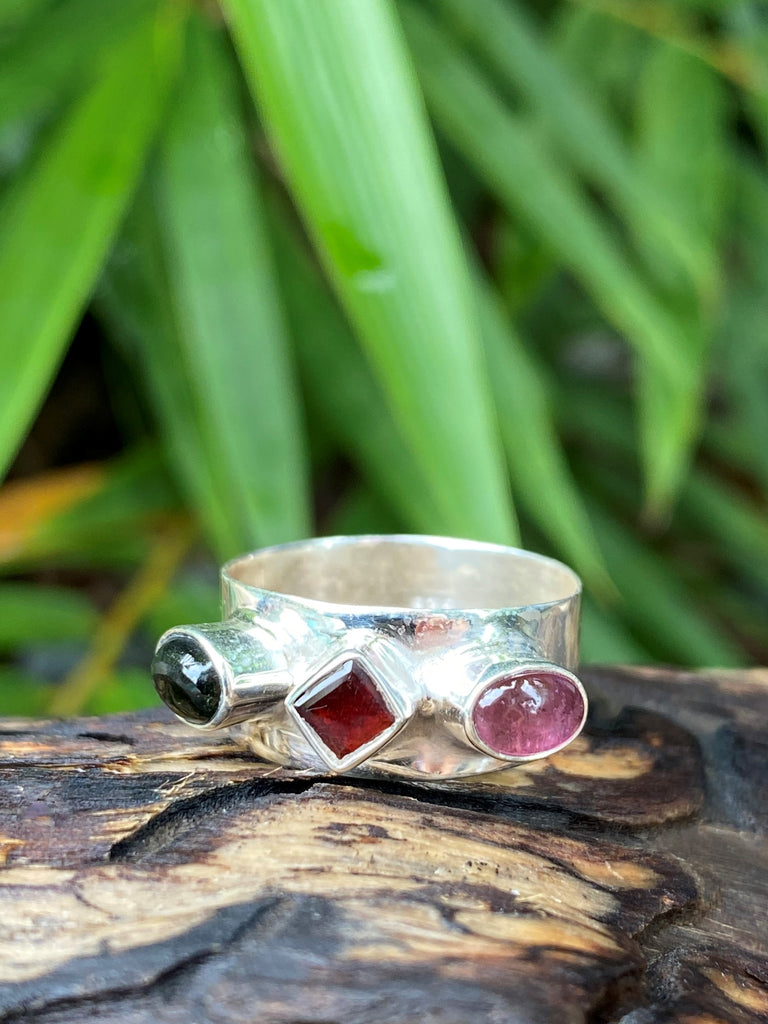Triple Treat! Wide band sterling silver ring - deep red garnet, dark green & pink tourmaline gemstones - size 8