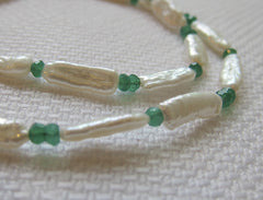 Freshwater Pearl and Faceted Emerald necklace with Silver Clasp