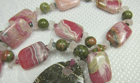 Rhodochrosite Rose Quartz and Unakite Central Stone and Ball necklace with Tourmaline and Silver Magnetic Clasp