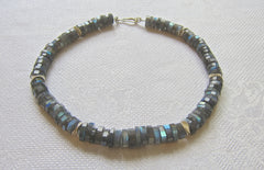 Faceted Labradorite necklace with Siver Wobbly Discs and Clasp