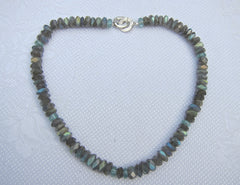 Faceted Labradorite necklace with Apatite Buttons and Silver Chanel Clasp