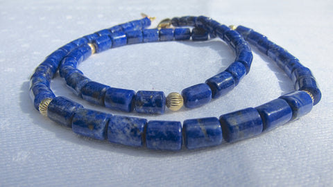 Lapis Lazuli Small Cylinders necklace gold Beads and Gold-plated Clasp