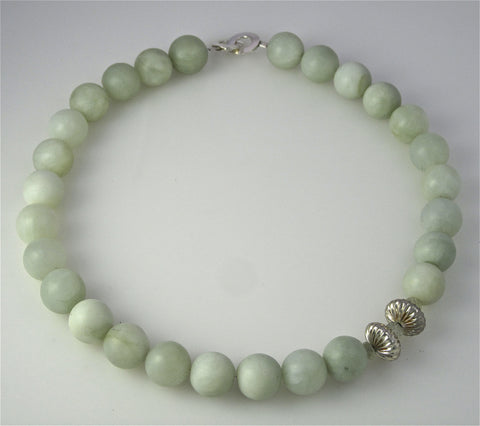 Serpentine Polished Ball necklace Silver Button Beads with Aquamarine and Silver Chanel Clasp
