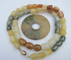 Jade Multicoloured  Barrel necklace with Detachable Carved Jade Ring with Magnetic clasp
