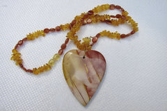 Mookite Large Heart with Amber and Sunstone Scew Clasp