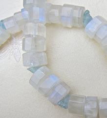 Faceted Moonstone Buttons and Aquamarine on Silver Clasp