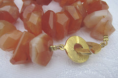 Faceted Carnelian Nuggets Gold-plated Wobbly Beads and Chanel Clasp