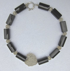 Hexagonal Onyx Cylinders with Silver Wire Balls and Centre Heart and Silver Ring Clasp