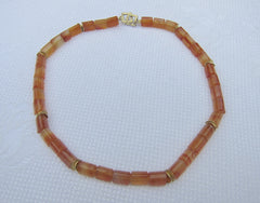Faceted Barrels of Carnelian with Wobbly Gold-plated Beads and Square Clasp