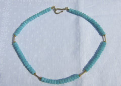 Peruvian Amazonite Polished Disc necklace with Gold Tubes and Discs and Clasp