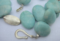 Peruvian Amazonite Ovals necklace with Silver Ovals to Compliment with Silver Clasp