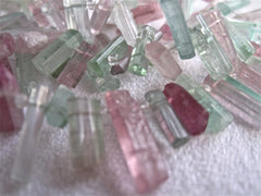 Pink and Green Tourmaline Icicles  on Silver Chanel Clasp