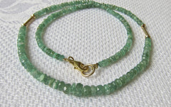 Faceted Emerald Button necklace with Gold Tubes and Button beads  with Gold-plated Clasp