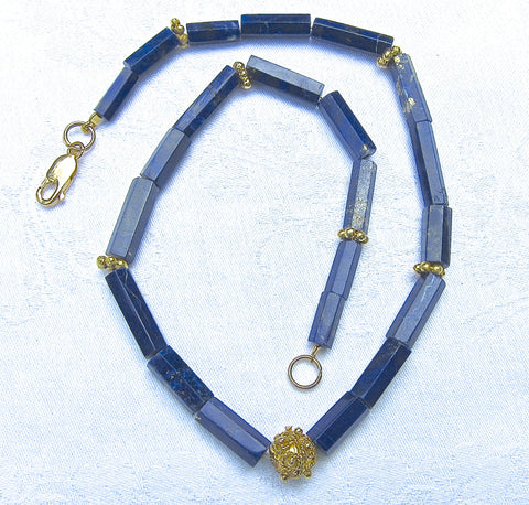 Lapis Lazuli Hexagonal Tube necklace Gold-plated Beads and Clasp
