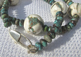 White Coral with Embedded Turquoise Ball necklace with Turquoise Buttons on Silver Clasp