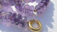 Faceted Amethyst Buttons with Gold Ball Bead and Gold-plated Chanel Clasp