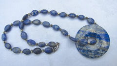 Lapis Lazuli Small Unpolished Ovals necklace Tiny Pyrite Nuggets and Detachable Lapis Ring